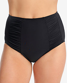 Swim Solutions High-Waist Shirred-Side Tummy Control Bikini Bottoms, Created for Macy's