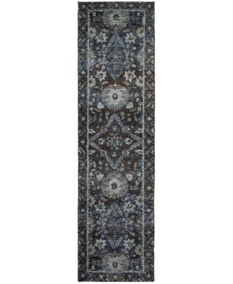 "Macy's Fine Rug Gallery Journey  Ordino Navy 2'3"" x 8' Runner Rug"