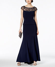 XSCAPE Petite Embellished Illusion-Contrast Gown