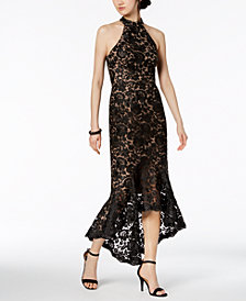 XSCAPE Lace Mock-Neck Gown