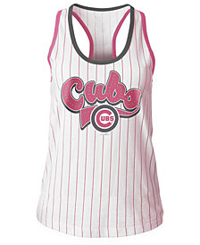 5th & Ocean Chicago Cubs Pink Pinstripe Tank Top, Girls (4-16)