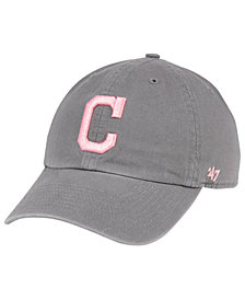 '47 Brand Cleveland Indians Dark Gray Pink CLEAN UP Cap