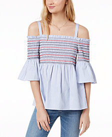 Maison Jules Smocked Off-The-Shoulder Top, Created for Macy's