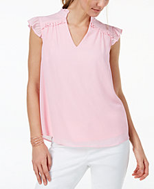 Monteau Ruffled V-Neck Top