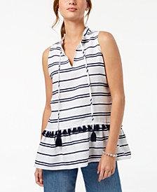 Charter Club Linen Striped Peplum Top, Created for Macy's