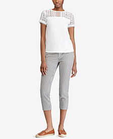 Lauren Ralph Lauren Lace-Yoke Top and Seersucker Pants