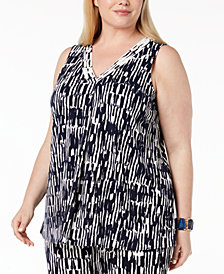Alfani Plus Size Printed Draped V-Neck Tank, Created for Macy's