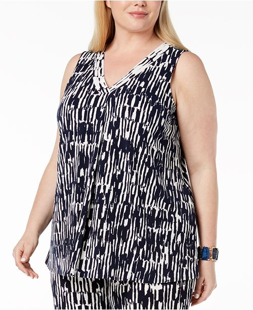 Wall Created Brush V Neck Printed Tank Alfani Plus for Draped Size Blue Macy's qw6gxRZf