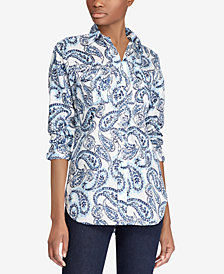 Lauren Ralph Lauren Paisley Sateen Shirt, Created for Macy's