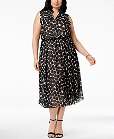 Anne Klein Plus Size Drawstring-Waist Midi Dress