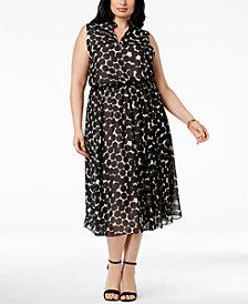 Anne Klein Plus Size Drawstring-Waist Midi Dress