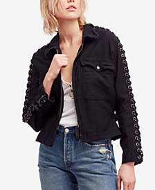 Free People Faye Cotton Military Lace-Up Jacket