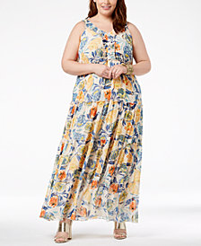 John Paul Richard Plus Size Printed Maxi Dress