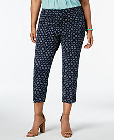 Charter Club Plus Size Geometric-Print Cropped Pants, Created for Macy's