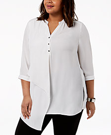 NY Collection Plus Size Asymmetrical Top