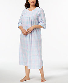 Miss Elaine Plus Size Embroidered Plaid Seersucker Zip Robe