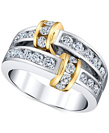 Diamond Channel-Set Statement Ring (1-1/4 ct. t.w.) in 14k Gold & White Gold