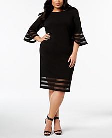 Plus Size Illusion-Trim Sheath Dress