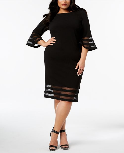0d85ef6a96b Calvin Klein Plus Size Illusion Bell-Sleeve Dress   Reviews ...