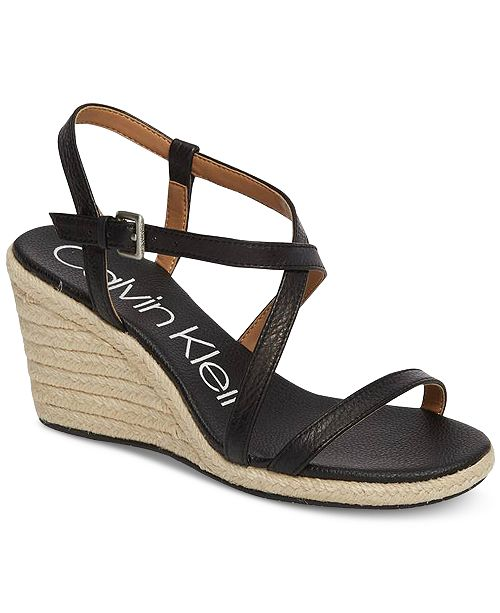 2d828b3cd08 Calvin Klein Women s Bellemine Wedge Sandals   Reviews - Shoes - Macy s