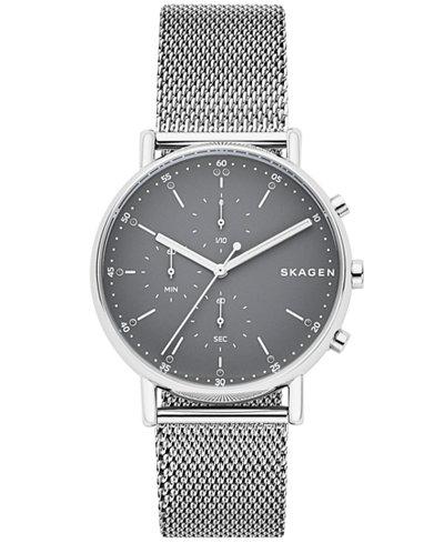 Skagen Men's Chronograph Signatur Stainless Steel Mesh Bracelet Watch 40mm
