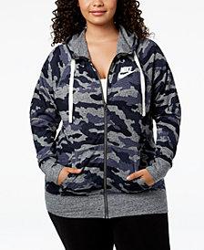 Nike Plus Size Sportswear Gym Vintage Printed Zip Hoodie