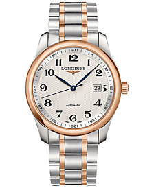 Longines Men's Swiss Automatic Master Collection Stainless Steel & Gold Cap 200 Bracelet Watch 40mm