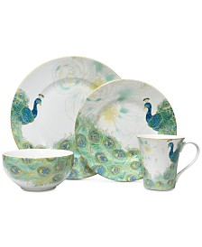222 Fifth Lakshmi Turquoise 16-Pc. Dinnerware Set, Service for 4