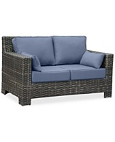Viewport Wicker Outdoor Loveseat With Sunbrella Cushions Created For Macy S