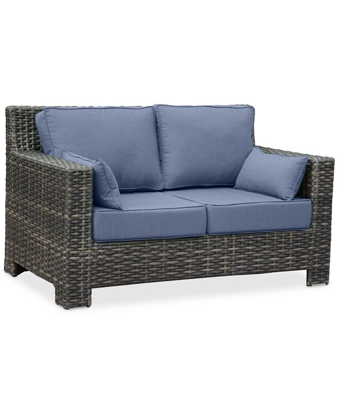 Furniture - Outdoor Loveseat with 2 Bolster Pillows