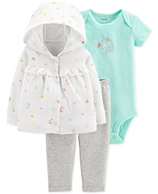 Carter's Baby Girls 3-Pc. Hooded Cotton Cardigan, Bodysuit & Pants Set
