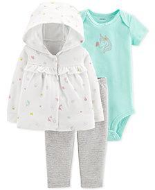 Carter's Baby Girls 3-Pc. Hooded Cotton Cardigan, Bodysuit & Pants Set