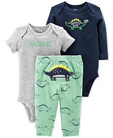 Carter's Baby Boys 3-Pc. Cotton Dinosaurs Bodysuits & Pants Set