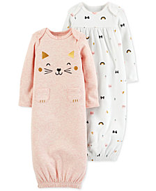 Carter's Baby Girls 2-Pack Printed Sleeper Gowns