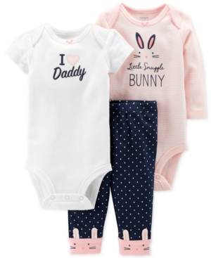 Carters Baby Girls 3Pc Cotton Bunny Bodysuits  Pants Set