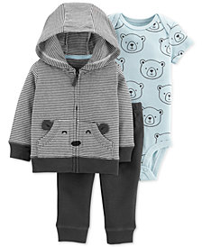 Carter's Baby Boys 3-Pc. Cotton Bear Hoodie, Bodysuit & Pants Set