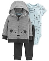 440fc16a3645 Carter s Baby Boys 3-Pc. Cotton Bear Hoodie