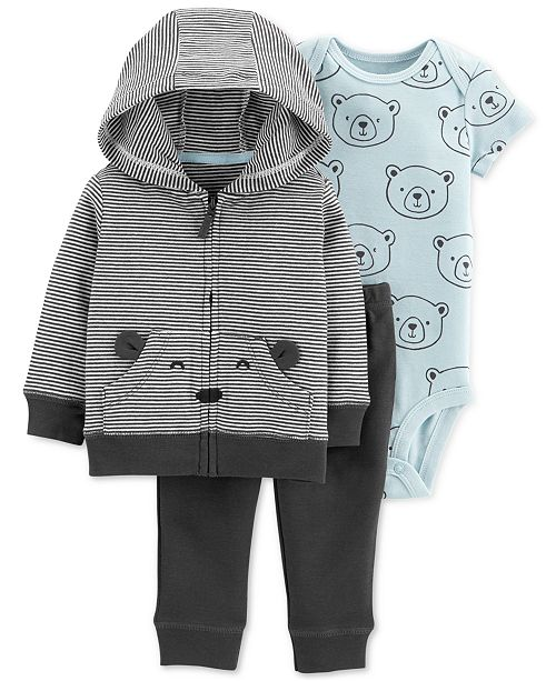 b94a5cfe8 Carter s Baby Boys 3-Pc. Cotton Bear Hoodie