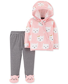 Carter's Baby Girls 2-Pc. Kitten Cotton Cardigan & Pants Set