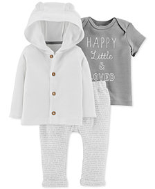 Carter's Baby Girls 3-Pc. Cotton Cardigan, T-Shirt & Pants Set