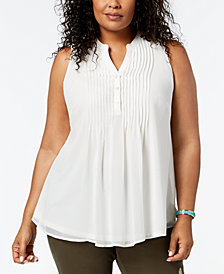 Charter Club Plus Size Pintuck Pleat Top, Created for Macy's