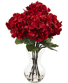 "Nearly Natural 18""H Red Hydrangea Silk Flower Arrangement"