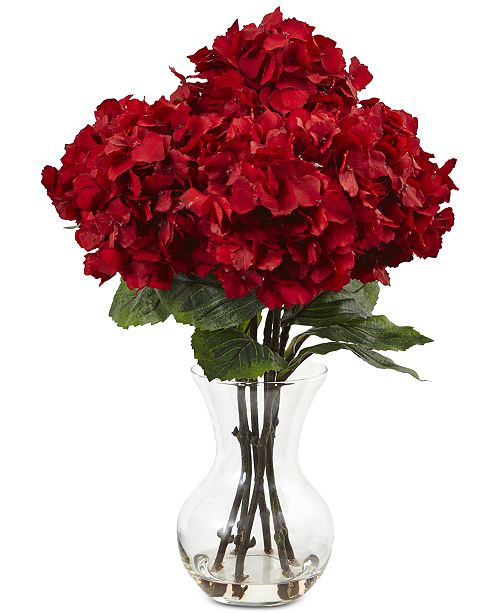 Nearly natural 18h red hydrangea silk flower arrangement home main image mightylinksfo