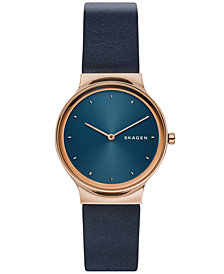 Skagen Women's Freja Navy Blue Leather Strap Watch 34mm