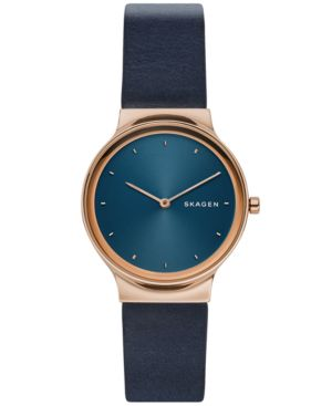 Women'S Freja Navy Blue Leather Strap Watch 34Mm in Black