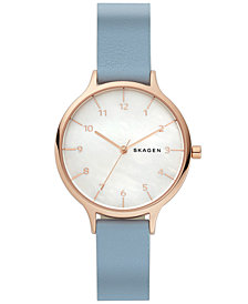 Skagen Women's Anita Blue Leather Strap Watch 36mm