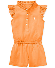 Ralph Lauren Cotton Flutter-Sleeve Romper, Baby Girls