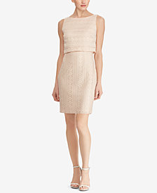 American Living Floral-Lace Popover Dress