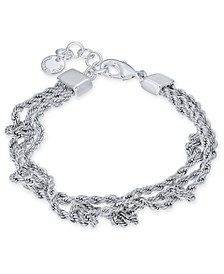 Silver-Tone Multi-Chain Knotted Link Bracelet, Created for Macy's