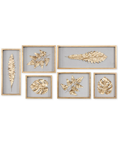 Uttermost Golden Leaves 6-Pc. Shadow Box Wall Art Set